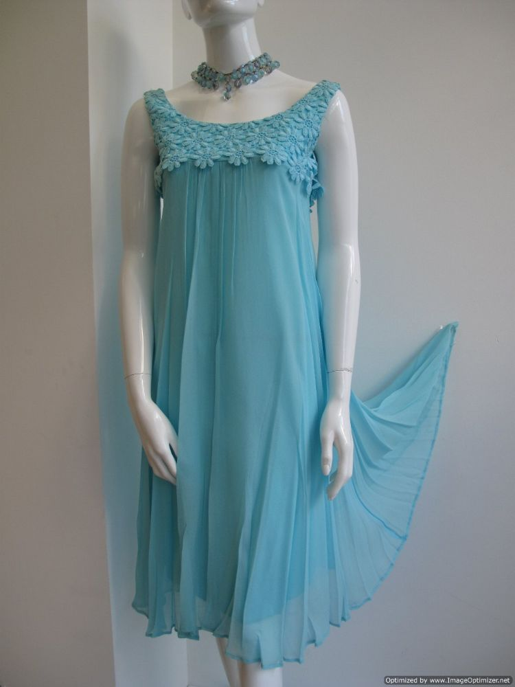 1960 S Turquoise Silk Chiffon Vintage Baby Doll Dress Sold